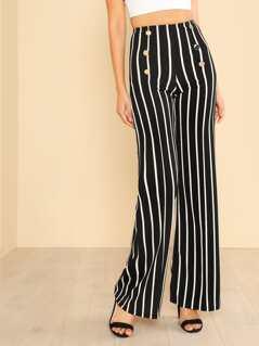 Vertical Stripe Flare Pants BLACK