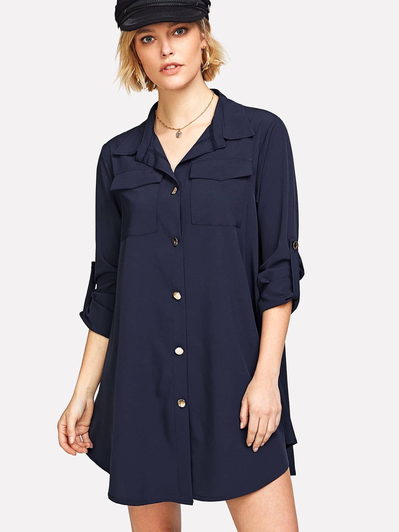 Roll Tab Sleeve Curved Hem Shirt Dress gathered sleeve curved dip hem gingham dress
