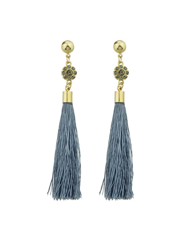 Gray Ethnic Style Boho Earrings Long Tassel Drop Earrings long tassel embellished boho style drop earrings