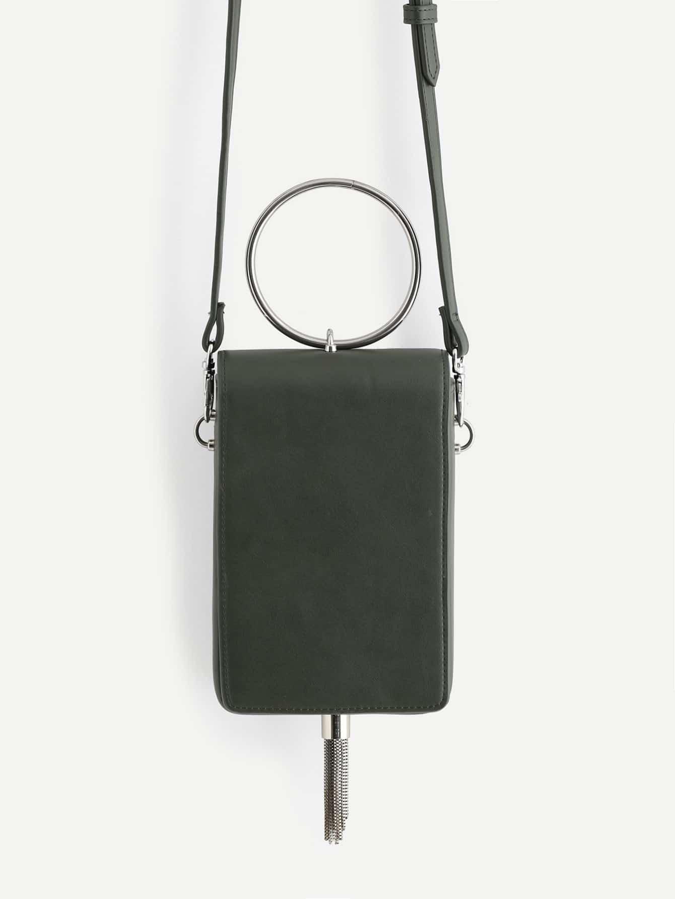 Ring Handle PU Shoulder Bag With Tassel все цены