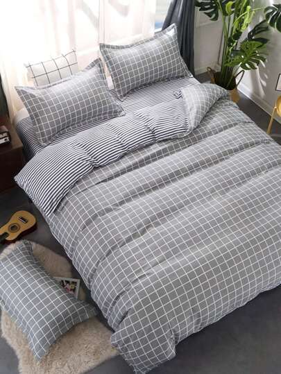 2.2m 4Pcs Grid & Plaid Print Bedding Set