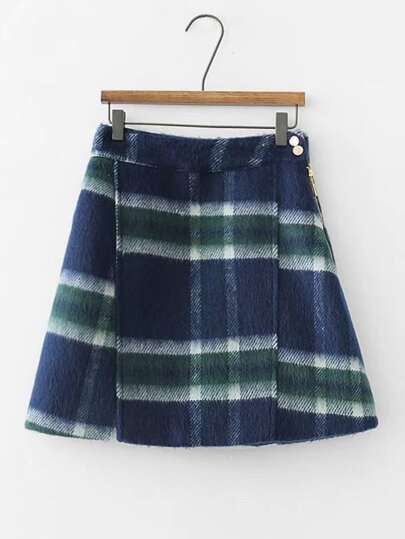 Plaid Wool Blend Skirt