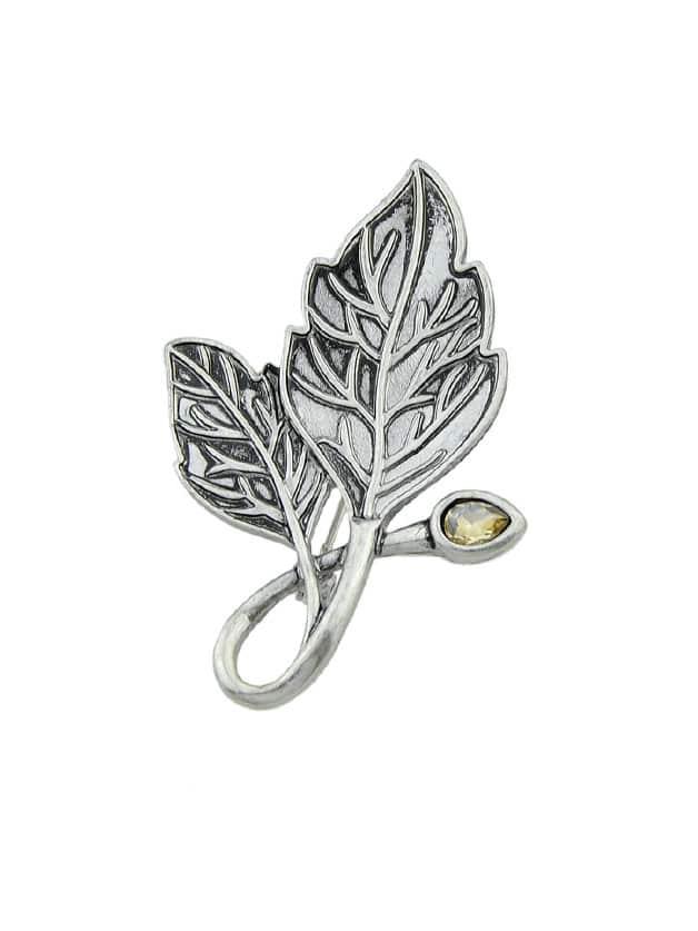 Ethnische antike Silberfarbe Blatt Broschen Pin