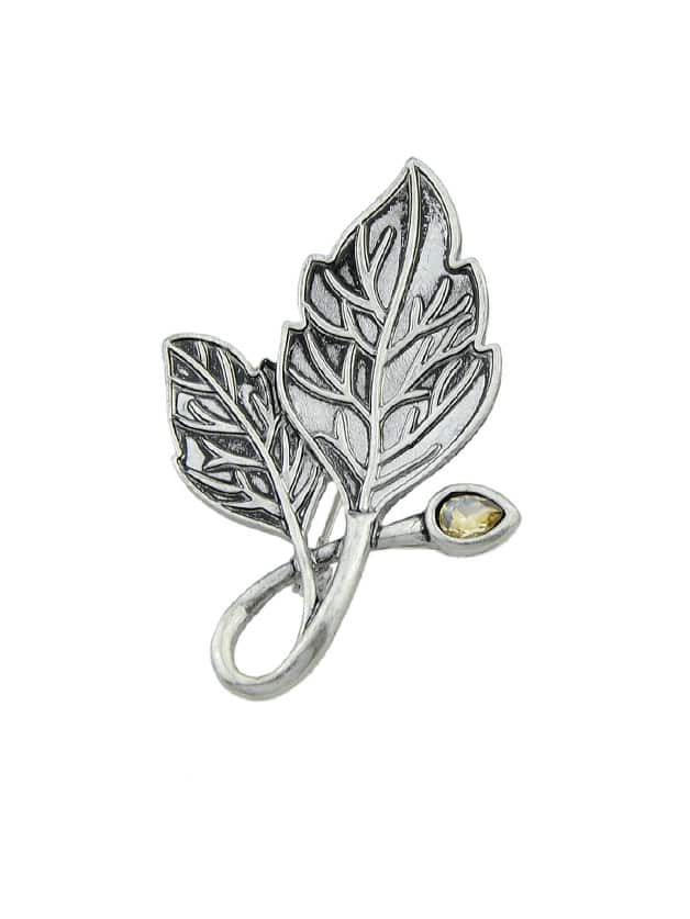 Ethnic Antique Silver Color Leaf Brooches Pin