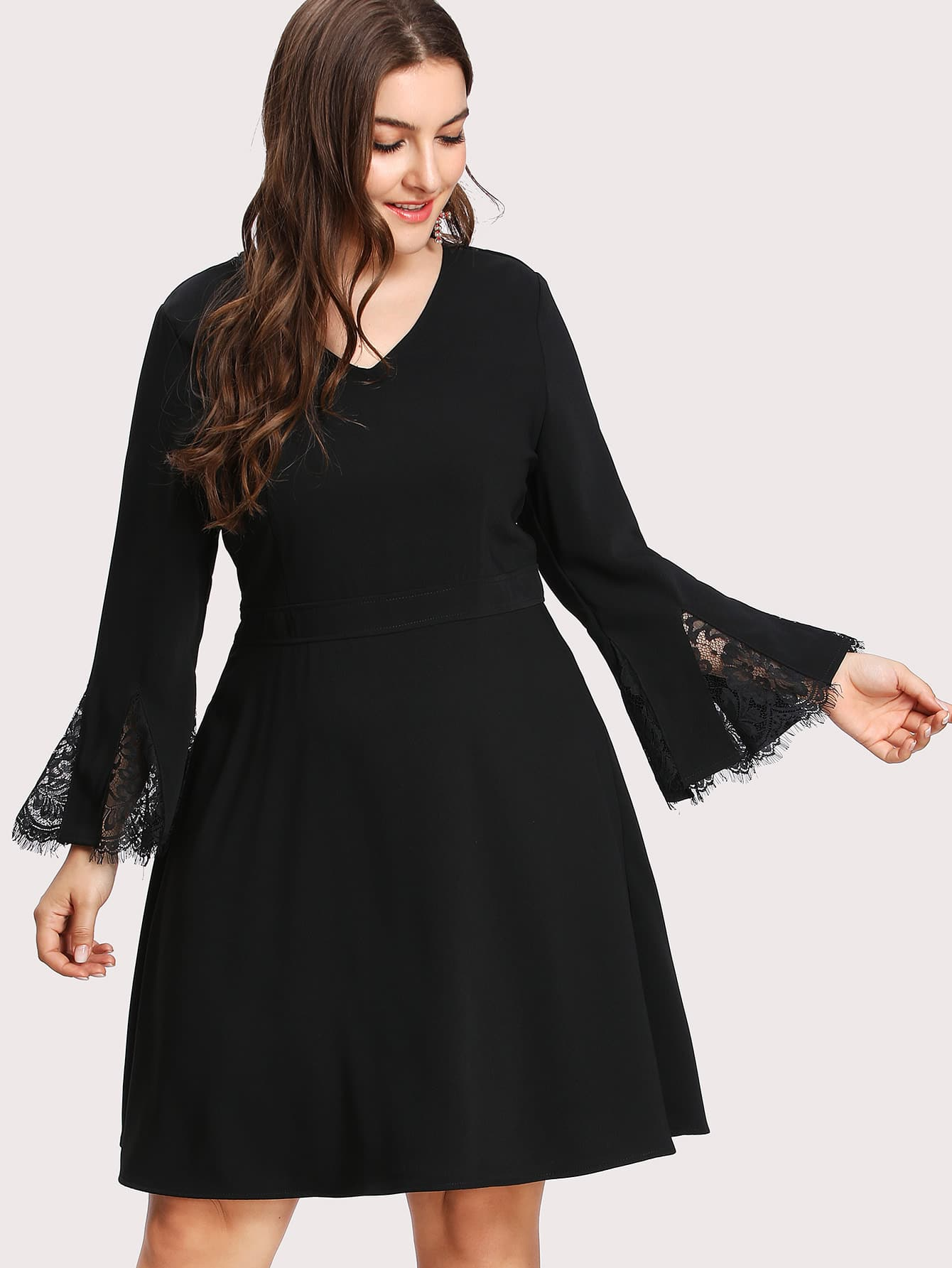 Lace Insert Bell Sleeve Fit & Flare Dress lace insert fit