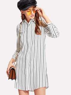 Button Up Striped Shirt Dress