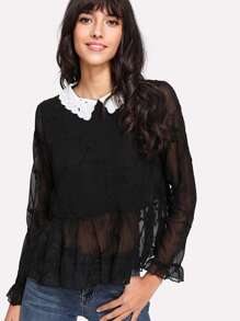 Contrast Eyelet Embroidered Collar Ruff Hem Blouse