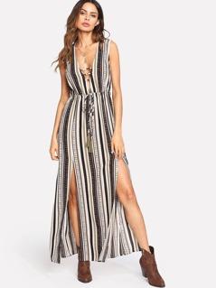 M-Slit Tassel Tied Front Geo Print Dress
