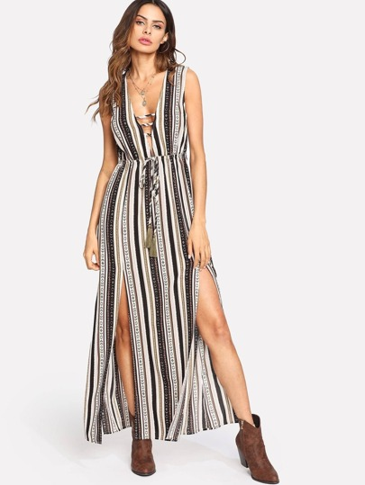 M-Slit Tassel Tied Front Geo Print Dress
