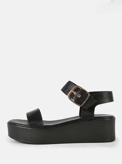 Patent Platform Sandals BLACK