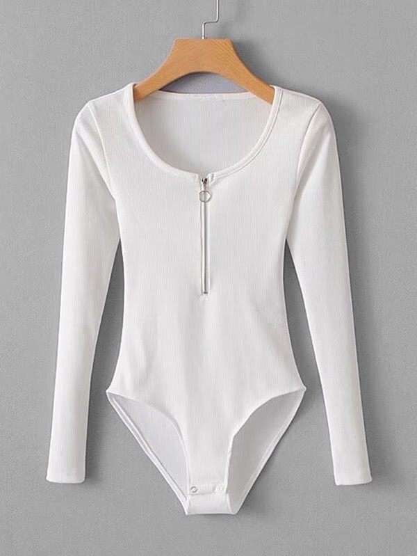 Zip Up Slim Fit Bodysuit, null
