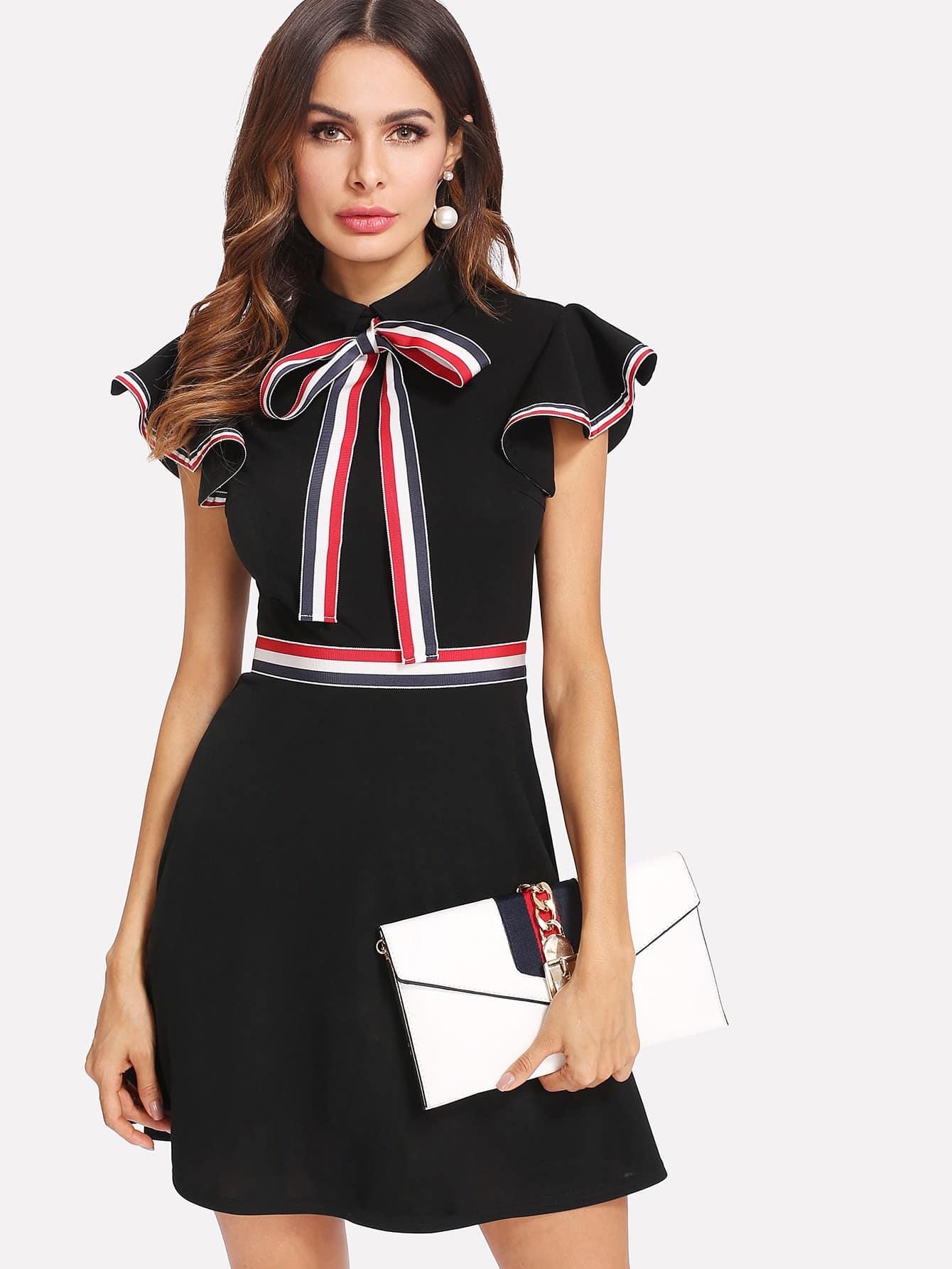 Купить Модное платье с бантом и оборкой, Andy, SheIn