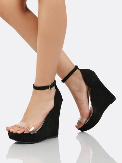 Clear Front Band Ankle Strap Wedge BLACK