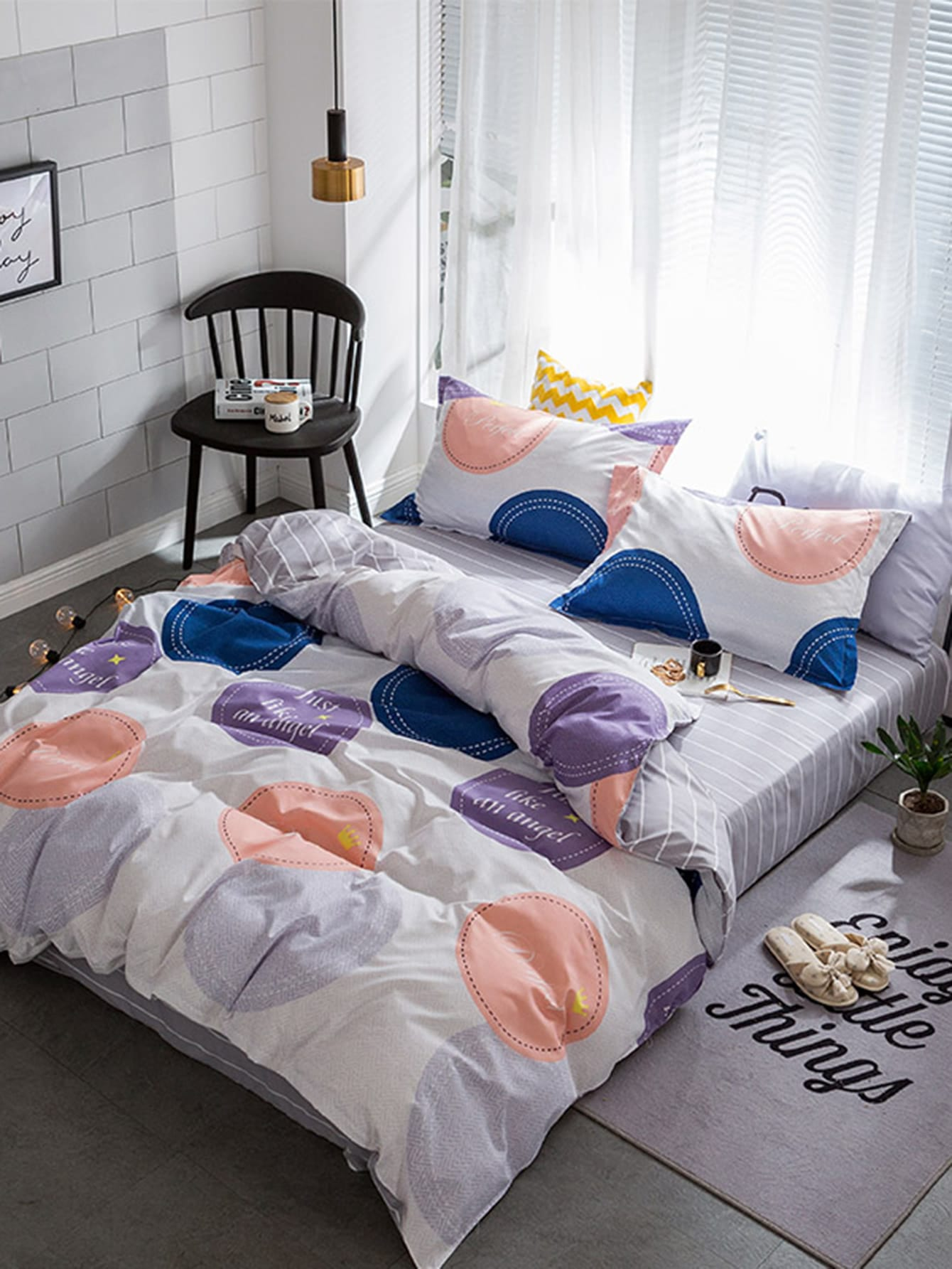 1.0m 3Pcs Dots Letter Print Duvet Cover Set