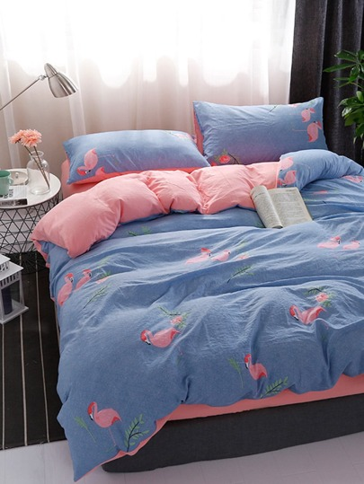 2.2m 4Pcs Bird Print Duvet Cover Set