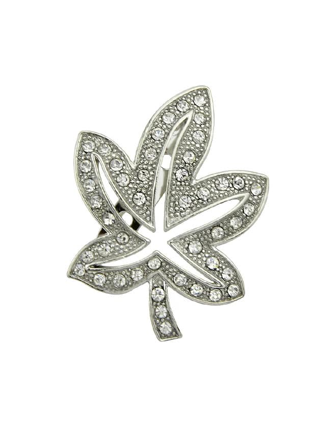 Silver Rhinestone Leaf Brooch Women Accessories