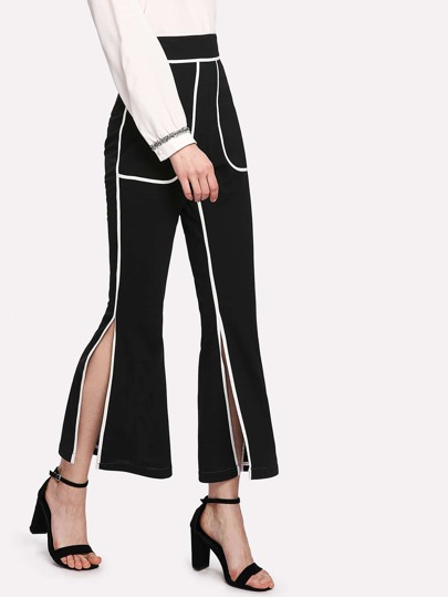 Contrast Trim Split Side Pants