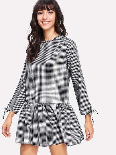 Bow Tied Cuff Plaid Dress