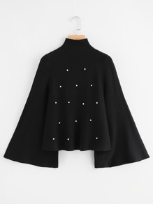 Pull col montant avec perle