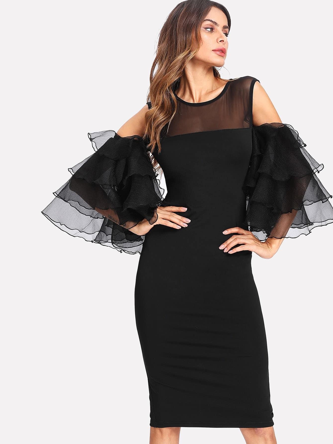 Купить Модное платье с оборкой и сетчатой вставкой, Andy, SheIn