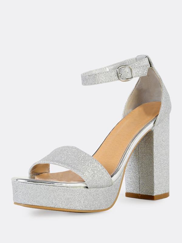 Glitter Ankle Strap Chunky Heels SILVER -SheIn(Sheinside)
