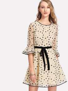 Contrast Binding Star Organza Dress
