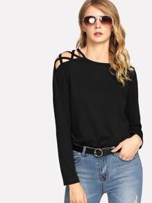Crisscross Open Shoulder T-shirt