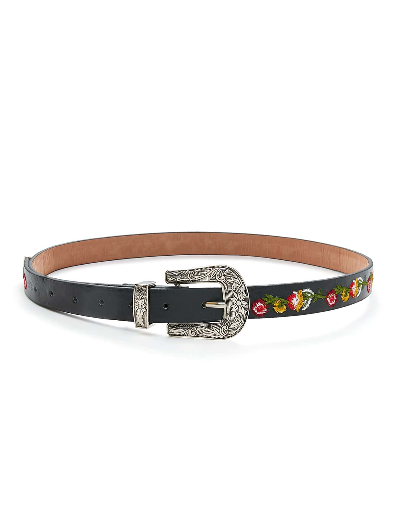 Flower Embroidery Contrast Buckle Belt