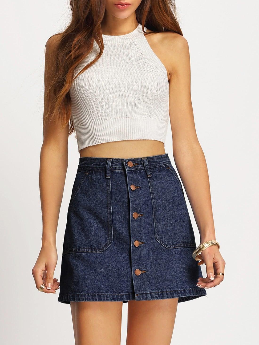 A-line Button Through Denim Skirt a line button through denim skirt