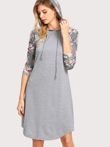 Contrast Floral Raglan Sleeve Hooded Dress