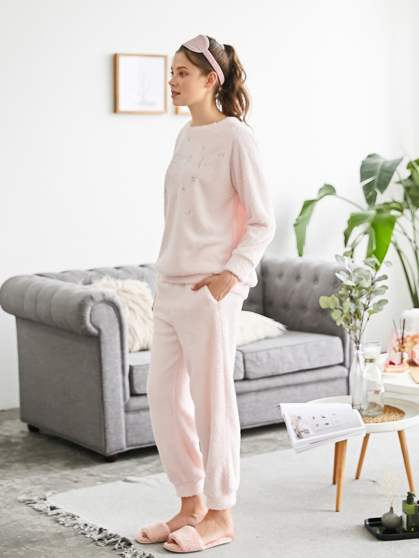 Embroidered Plush Pullover & Pants PJ Set