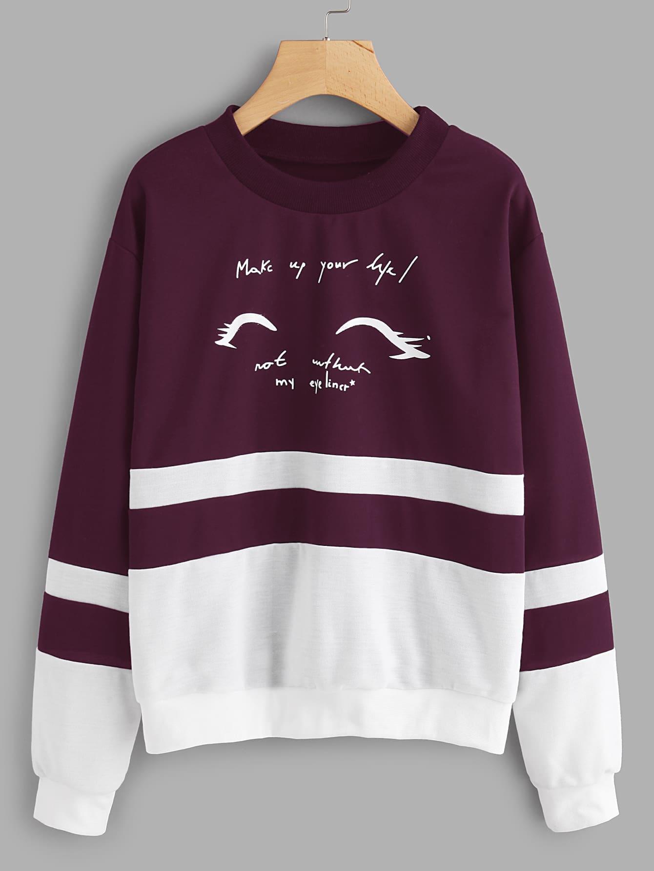 Letter Print Cut And Sew Sweatshirt