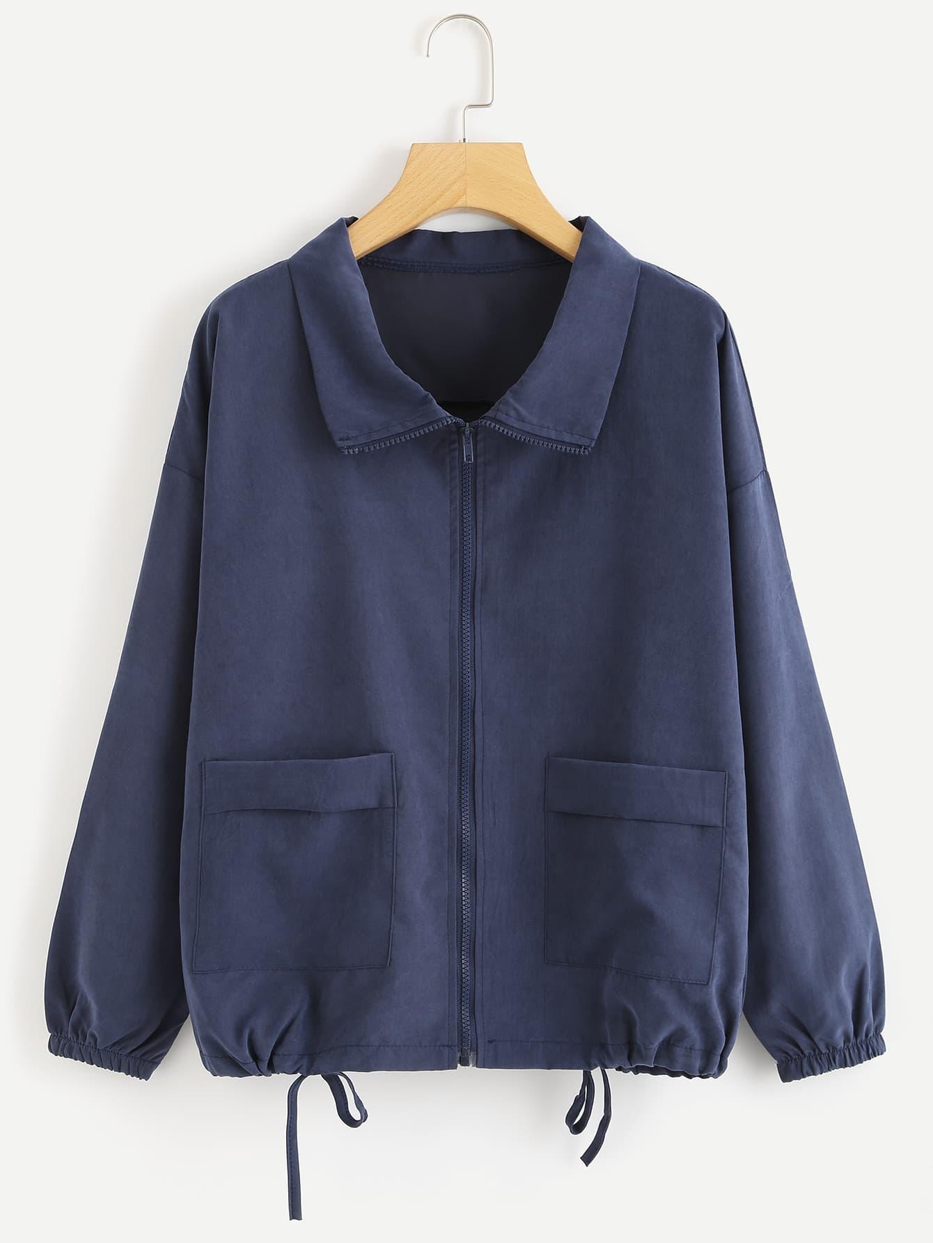 Dual Pocket Drawstring Hem Jacket