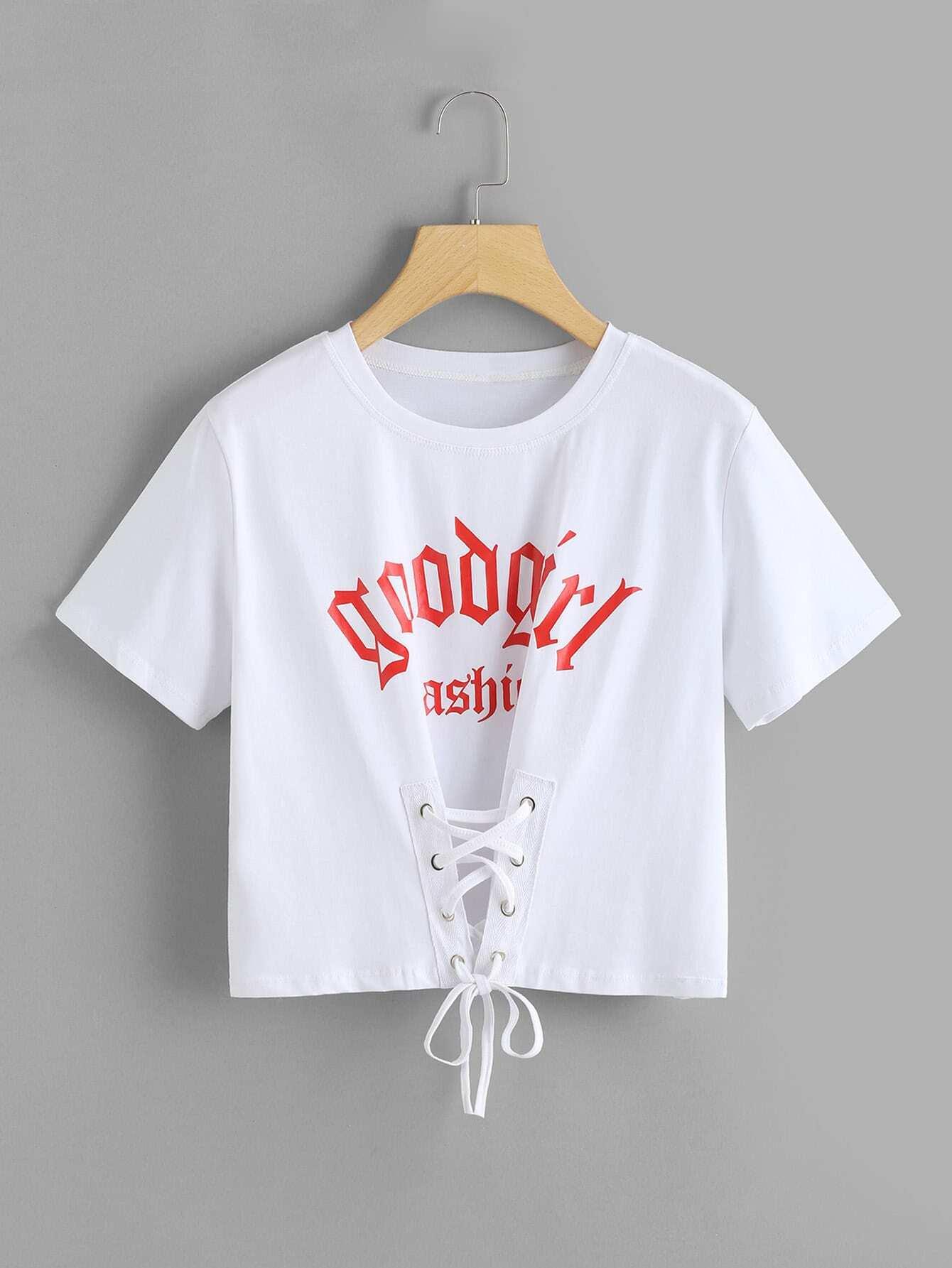 Купить Модная футболка со шнуровкой и текстовым принтом, null, SheIn