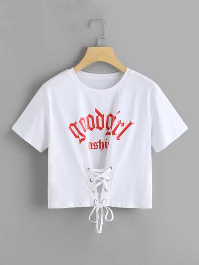 Lace Up Front Letter Print Tee