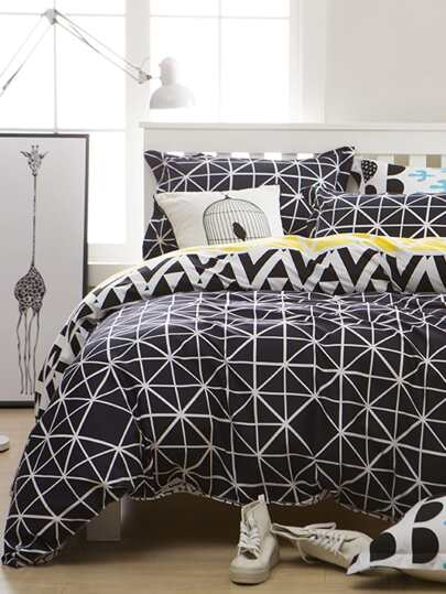 1.2m 4Pcs Simple Plaid Duvet Cover Set