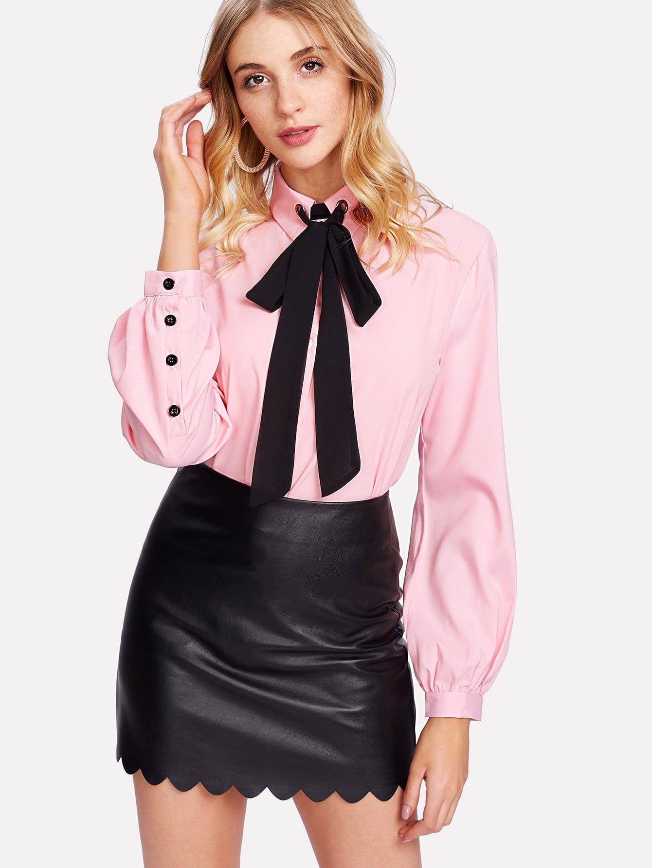 Купить Модная рубашка с контрастным воротником, Nathane, SheIn