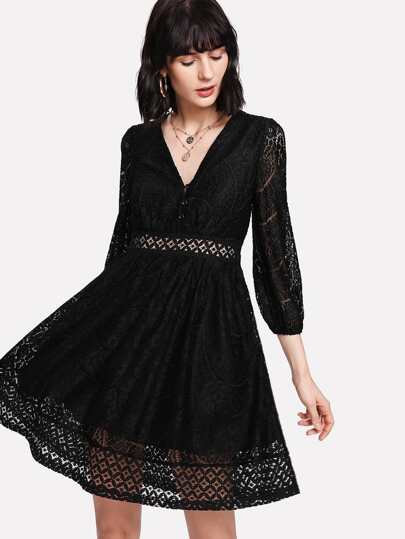 Button Front Lace Insert Fit & Flare Dress