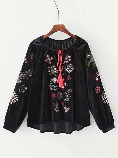 Tie Neck Embroidered Velvet Blouse
