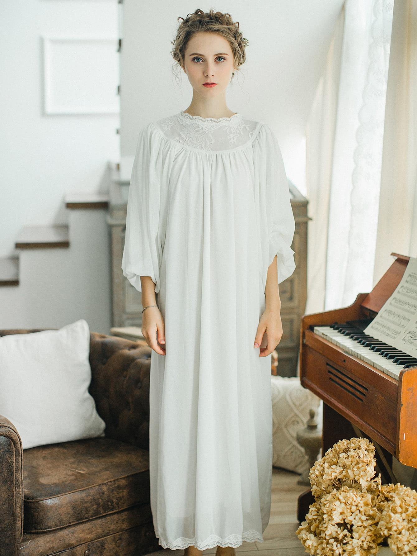 Contrast Lace Ruffle Trim Bishop Sleeve Dress lantern sleeve ruffle trim pinstripe dress