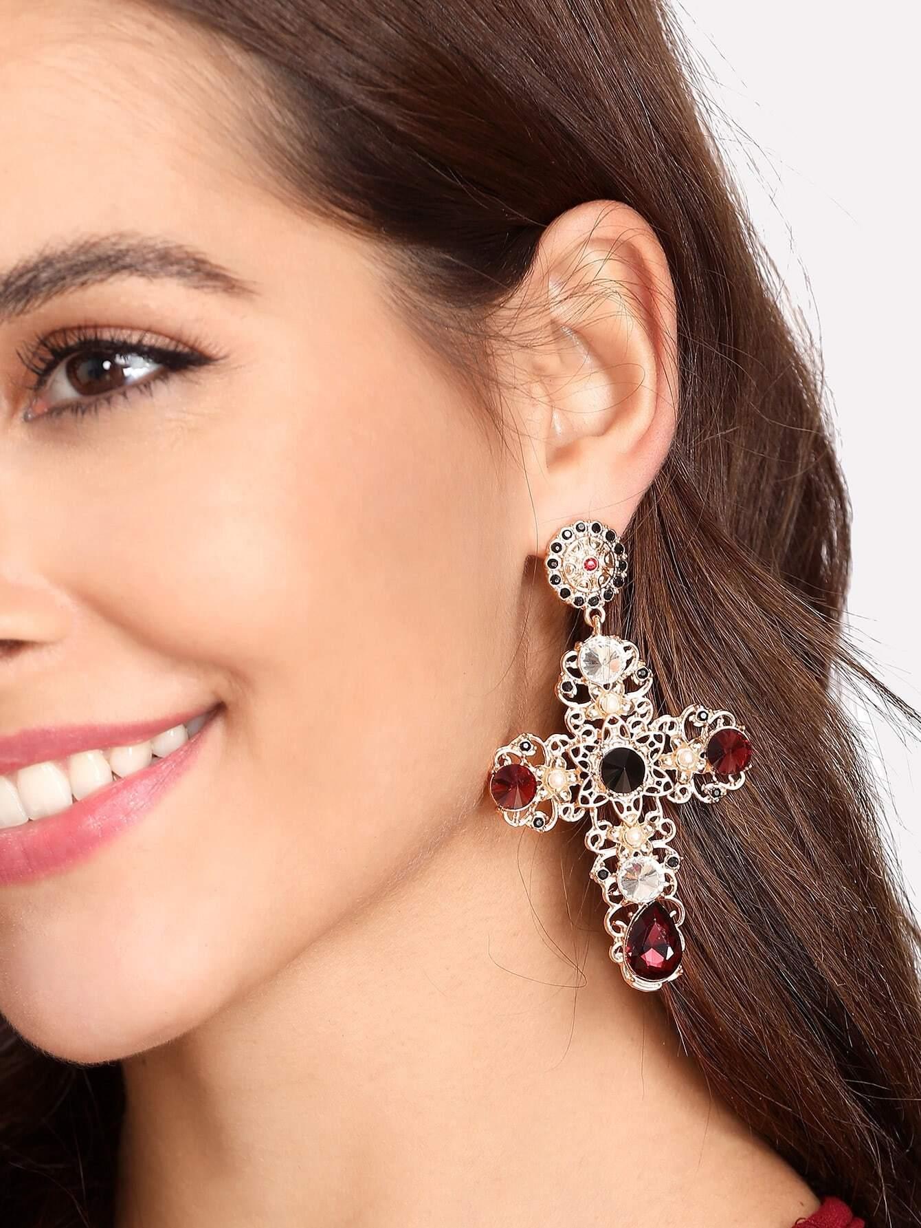 Hollow Cross Design Drop Earrings