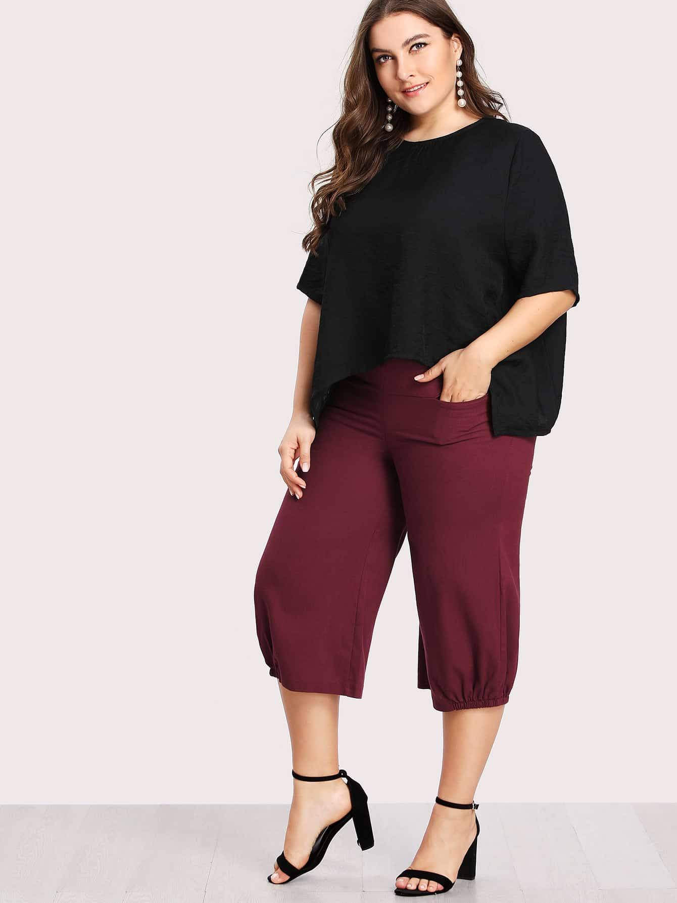 Image of Asymmetric Hem Top & Crop Pants Set