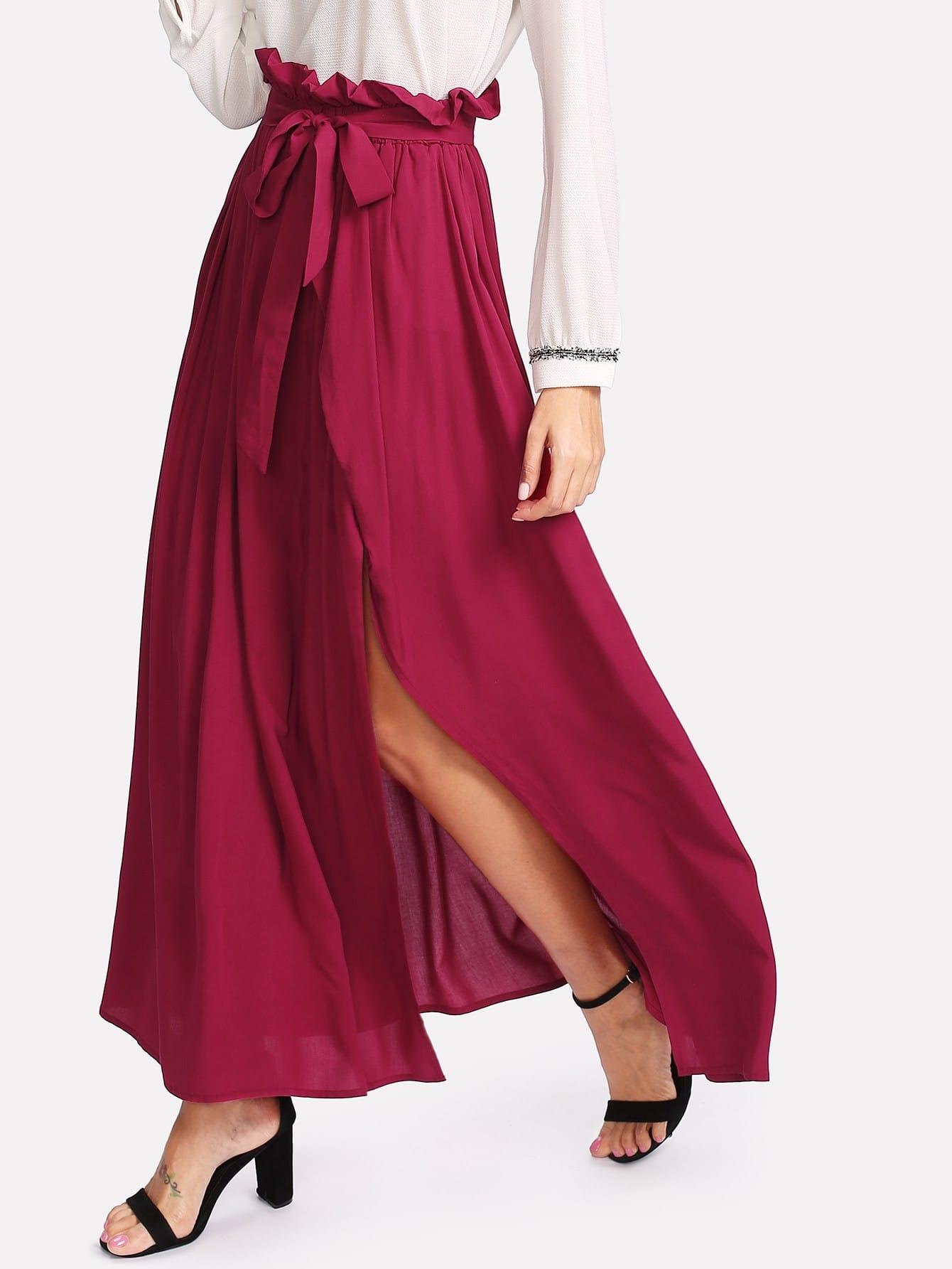 Купить Модная юбка с вырезом и поясом, Giulia, SheIn