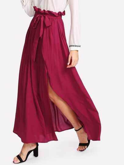 Self Belt Ruffle Waist High Split Skirt