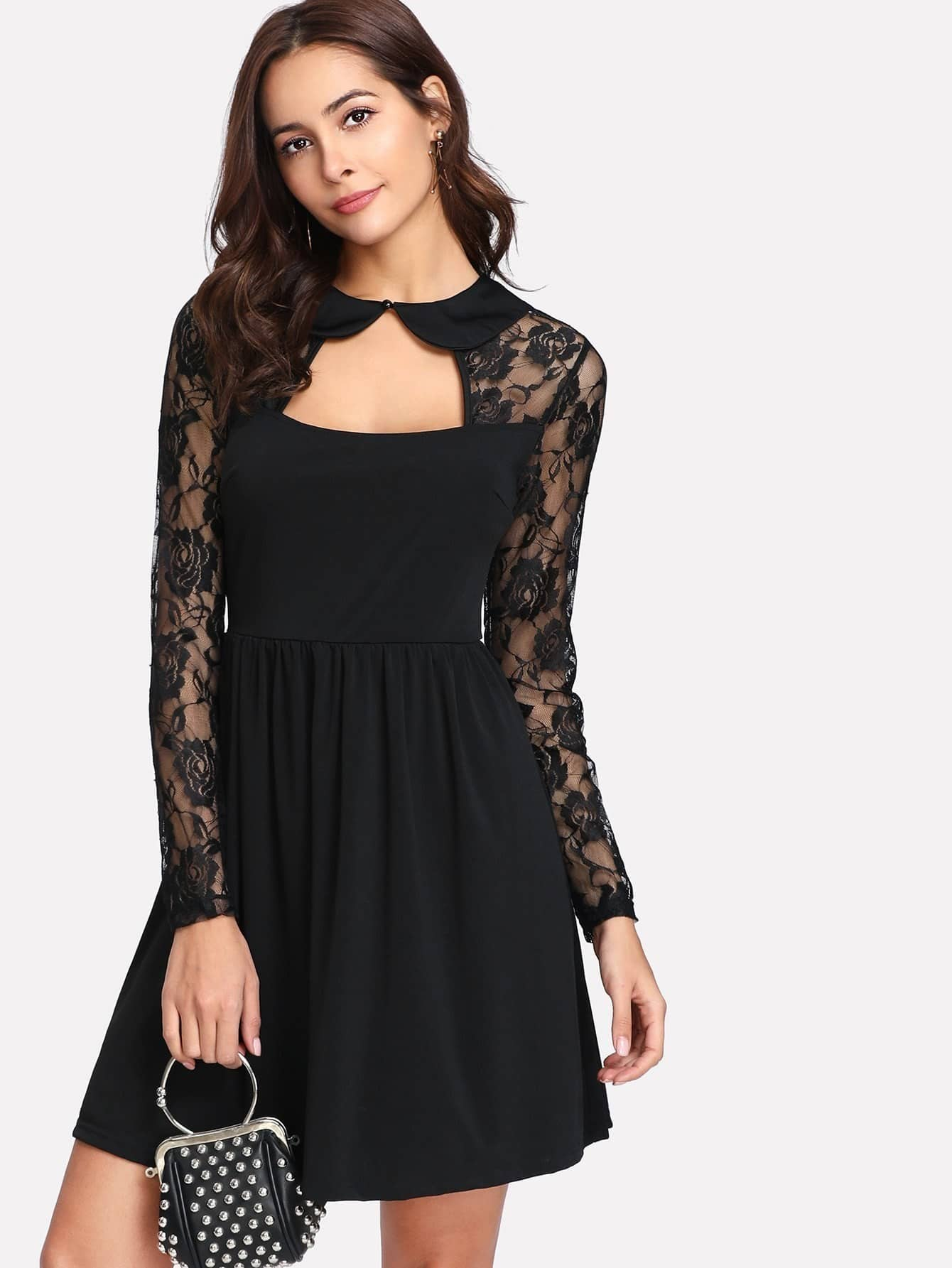 Contrast Lace Cut Out Front And Back Dress cut out front split backless dress