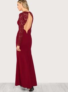 Floral Lace Yoke Sweetheart Neck Dress