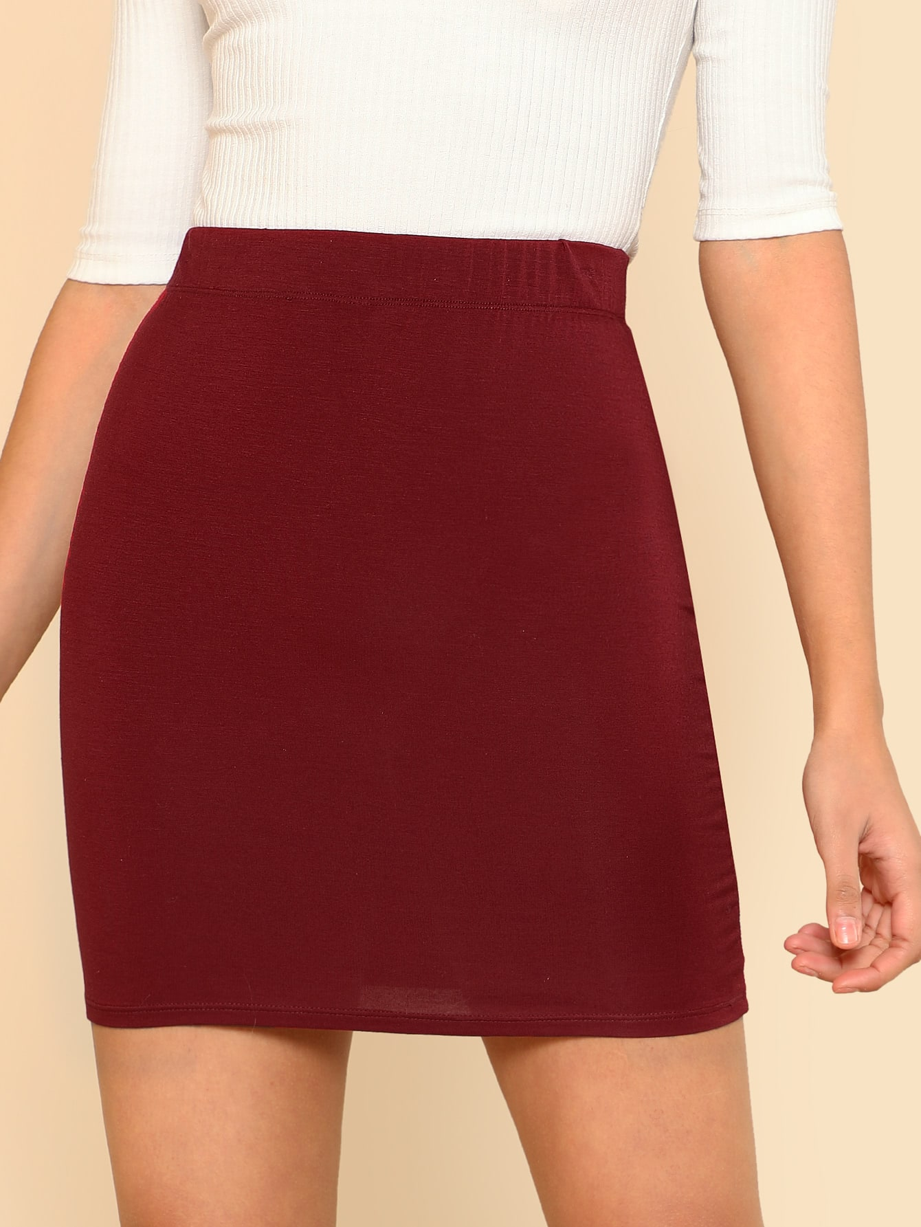 Solid Stretch Knit Bodycon Skirt solid ruched knit skirt