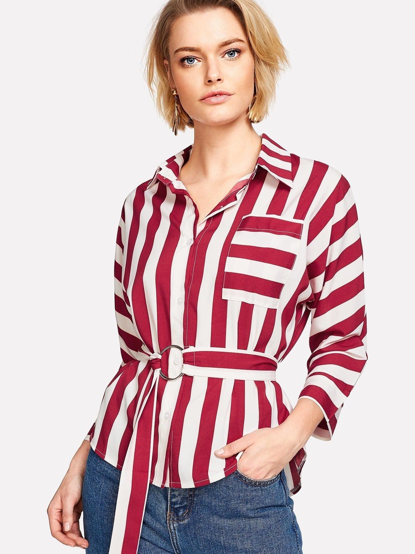 O-Ring Belted Striped Shirt pu belted tartan shirt