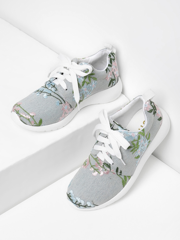 Flower Embroidery Lace Up Denim Sneakers