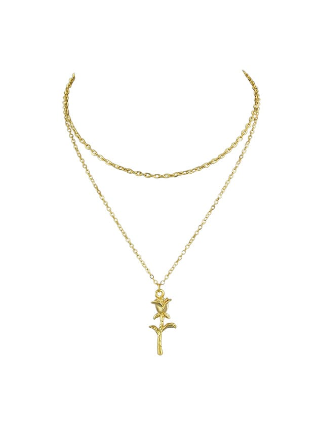 Gold Multi Layers Chain With Rose Flower Charm Pendant Necklace yoursfs 18k rose gold plated charm white enamel lucky elephant long animal pendant necklace chain for women clothing